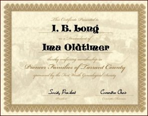 Pioneer Families of Tarrant County Certificate